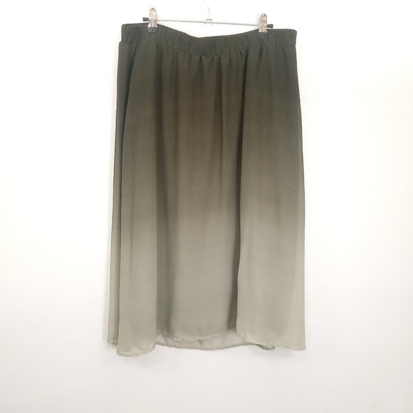 Old Navy Dresses & Skirts - Old Navy Olive Army Green Ombre A-Line Midi Skirt